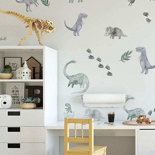 WATERCOLOUR DINOSAUR WALL VINYL