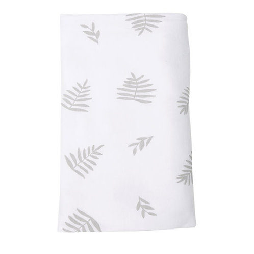 WHITE WITH GREY PALM LEAF STRETCH COTTON BLANKET