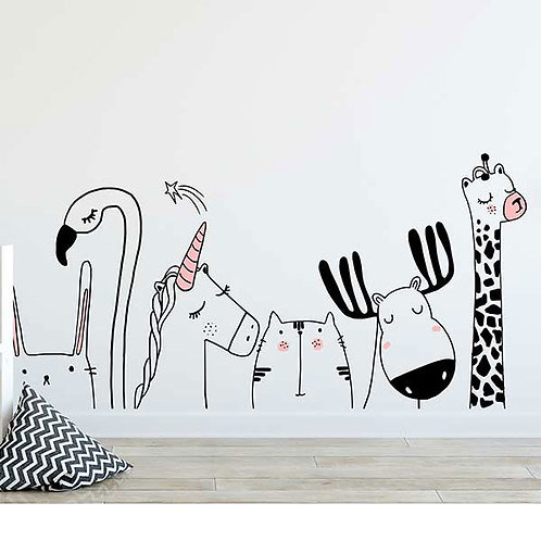 HAPPY ANIMALS WALL VINYL