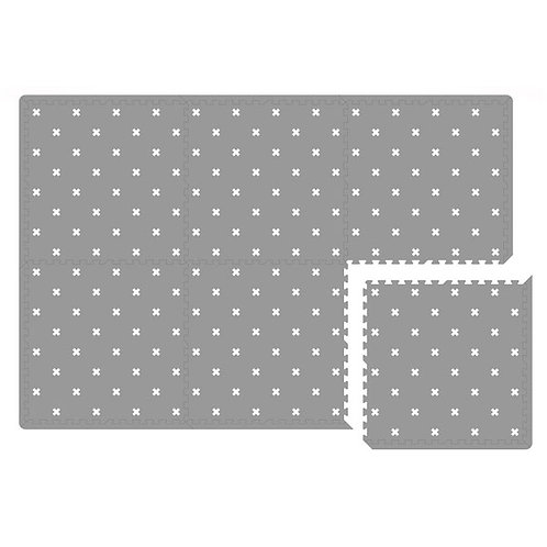 WHITE NORDIC CROSS ON GREY PLAYMAT