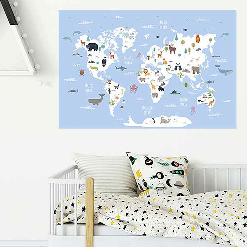 WORLD MAP WALL VINYL