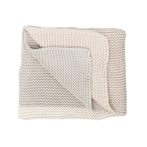 CHUNKY KNIT BLANKET-LIGHT GREY