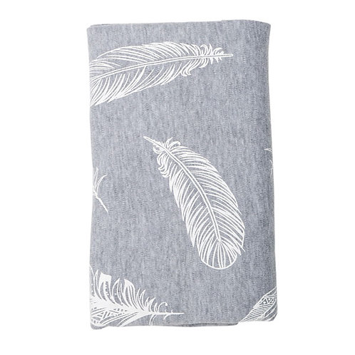 WHITE FEATHERS ON GREY STRETCH COTTON BLANKET