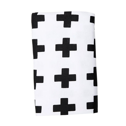 SWISS CROSS BLACK ON WHITE STRETCH BLANKET