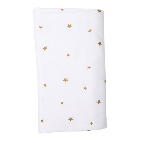 WHITE WITH GOLD STARS STRETCH COTTON BLANKET