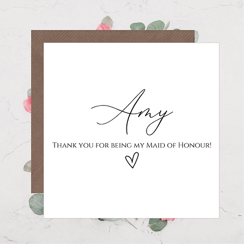 Thank You Maid of Honour Card