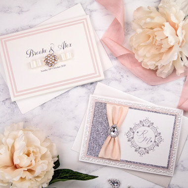 Pocket fold and concertina invitations in peaches and pinks