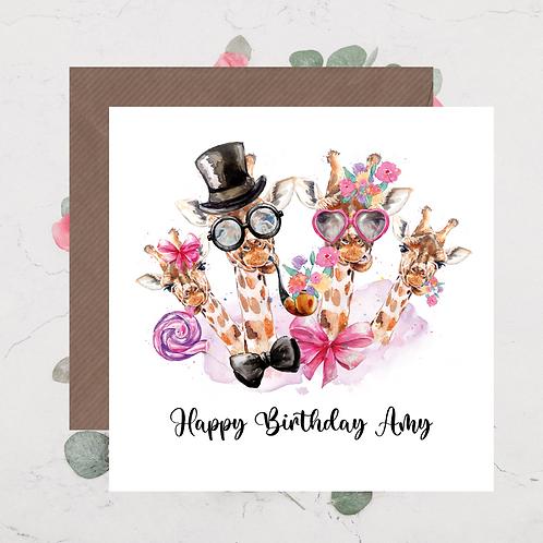 Giraffe Birthday Card 4