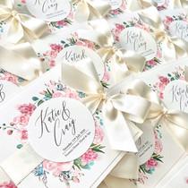 Pink floral pocket fold invitation
