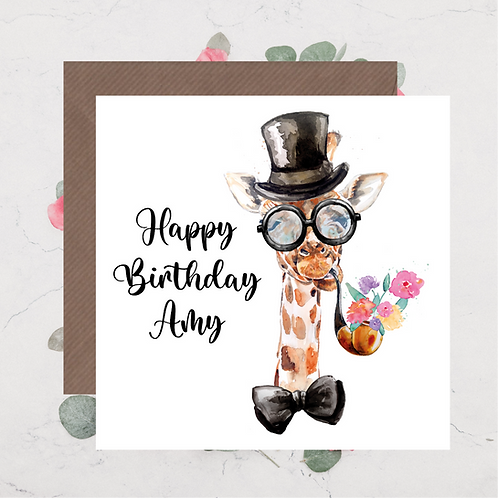 Giraffe Birthday Card 3