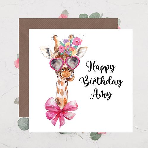 Giraffe Birthday Card 2