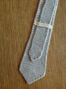 back of crocheted skinny tie