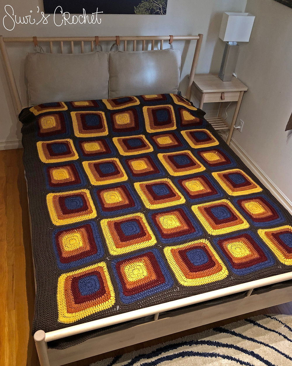 Crocheted Dekoplus squares Afghan or blanket