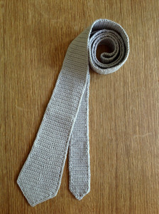 completed crocheted skinny tie