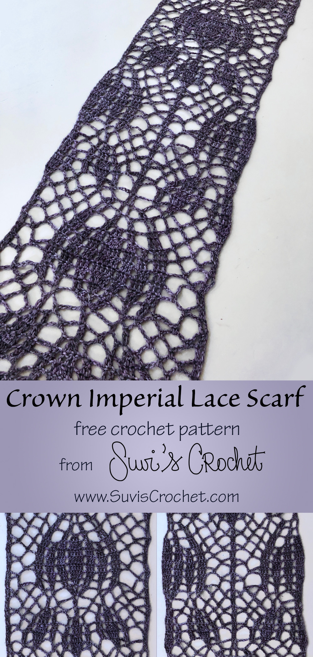 Crocheted lace scarf with a crown imperial flower motif.