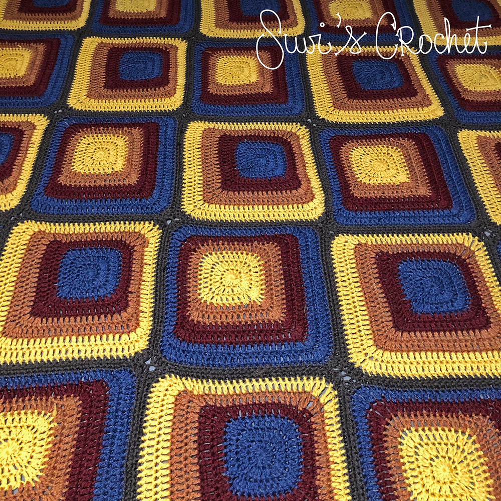 Crocheted Dekoplus squares for a blanket
