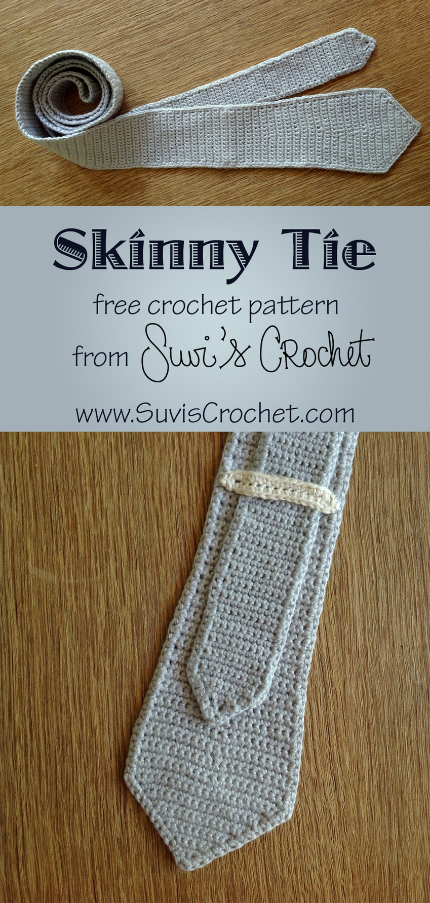 pinterest formatted image of the crocheted skinny tie