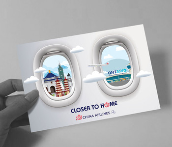 In early 2018, China Airlines launched services at Ontario  International Airport, providing direct flight to Taiwan. To create awareness of the new direct flights, online and offline sweepstakes campaign were created to target Taiwanese Americans with a concept; Closer to home.  / Campaign conducted @ URI Global
