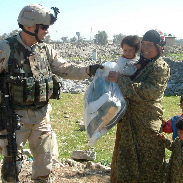 Founder Christopher Loverro conducting humanitarian operations in Mosul, Iraq