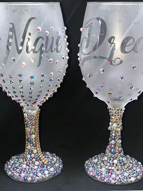 Frosted Stemmed Wine Glass