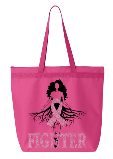 Pink Breast Cancer Tote Bag (Pink Glitter)