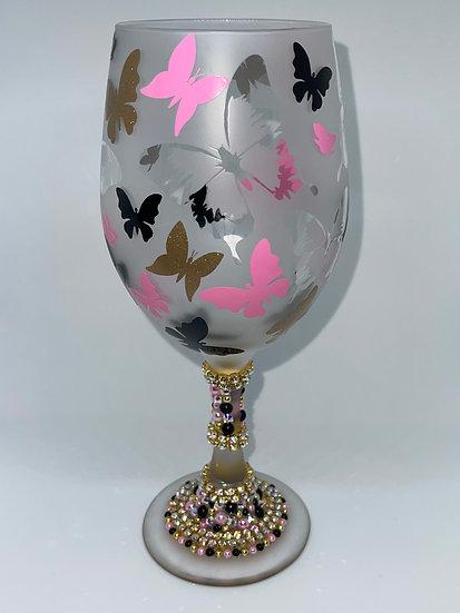 Butterfly Stemmed Wine Glass