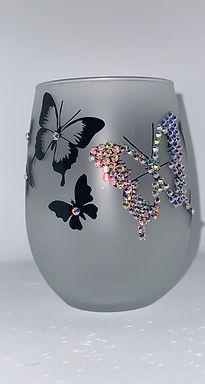Butterfly Stemless Wine Glass