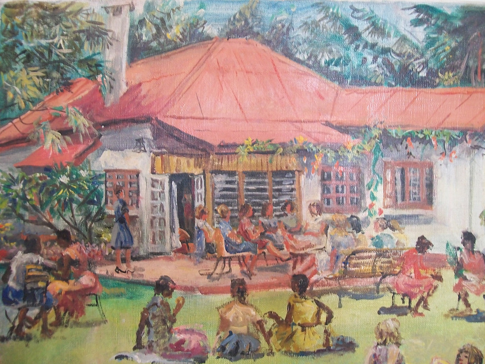 A painting of Kianda Foundation original cottage in 1964