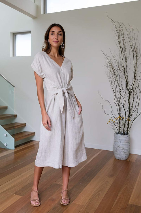 Blair Tied Jumpsuit (Oat) by Aulieude