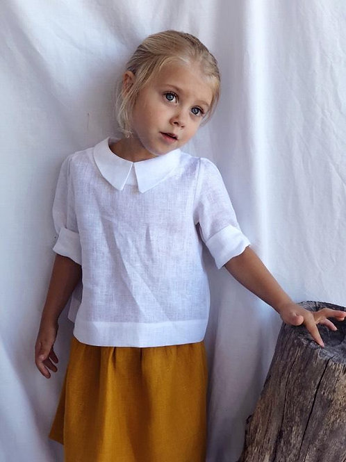 Linen Blouse with Button Back