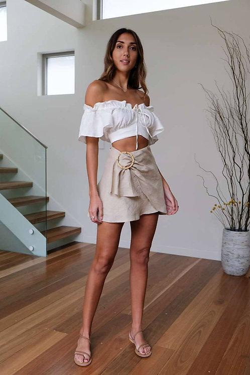 Kiera Mini Wrap Skirt (Beige) by Aulieude