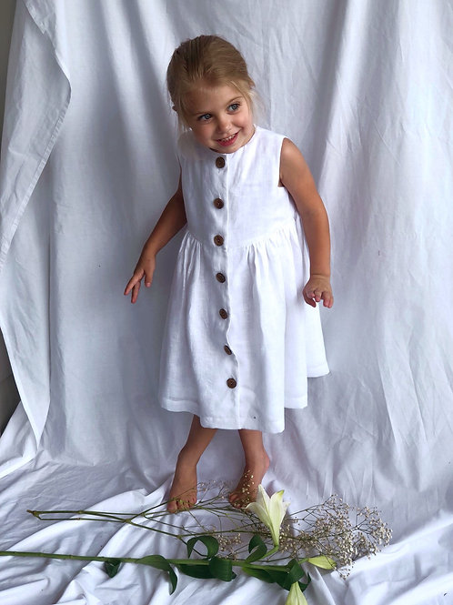 White Linen Button-Up Dress