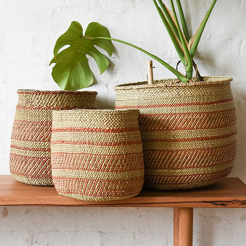 Fairtrade Patterned Planter Basket (Terracotta) by Collective Sol