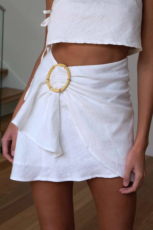 Kiera Mini Wrap Skirt (Cream) by Aulieude