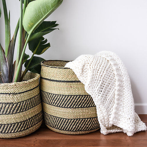 Fairtrade Patterned Planter Basket (Charcoal) by Collective Sol