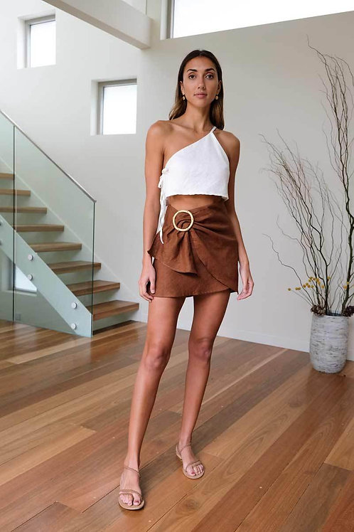 Kiera Mini Wrap Skirt (Chocolate) by Aulieude