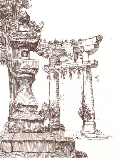 Stone Temple Gate and Lantern