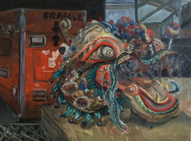 Dragon Dance Head and Fragile Storage Trunk