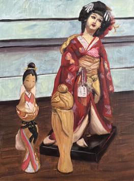 Minidoka Doll and Kokeshi