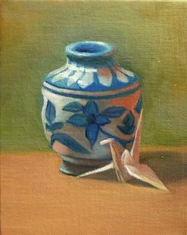 Origami Crane and Indian Vase