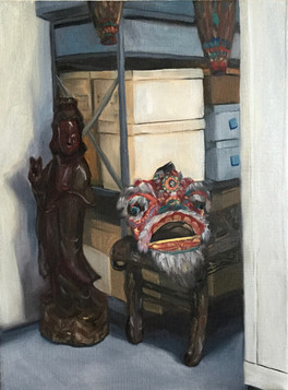 Lion Dance Head and Chinese Goddess