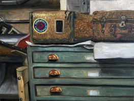 Basket Suitcases and Printing Press