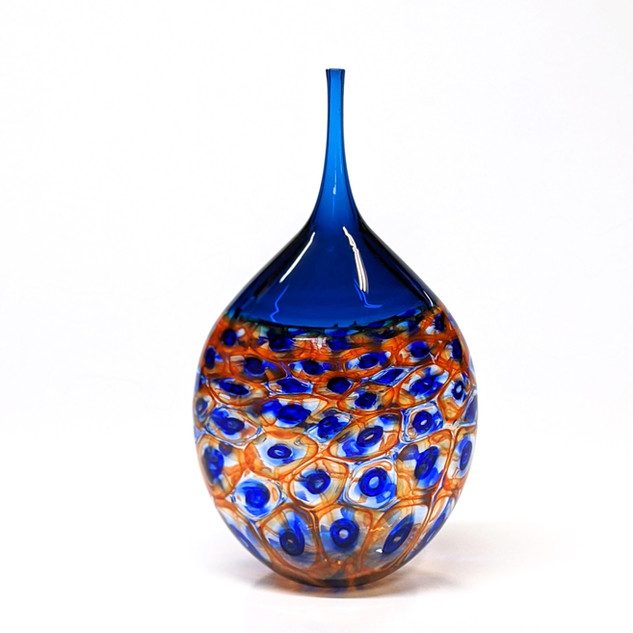Cobalt Orange Murrini Vessel