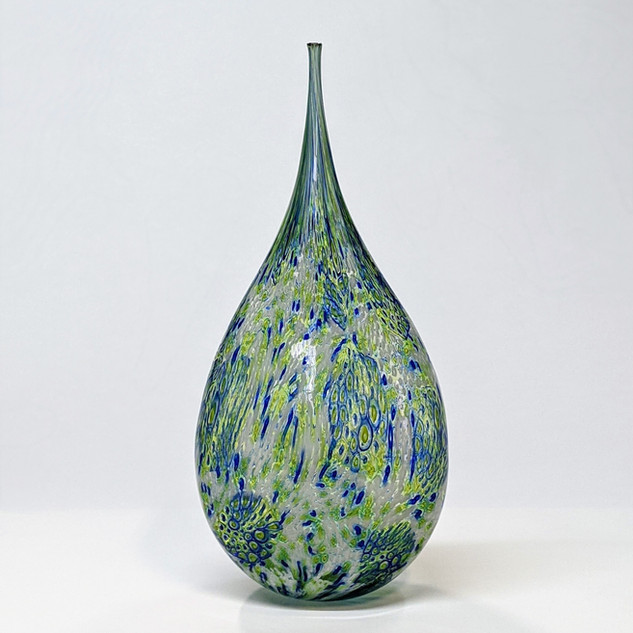 Green Blue Teardrop Bottle
