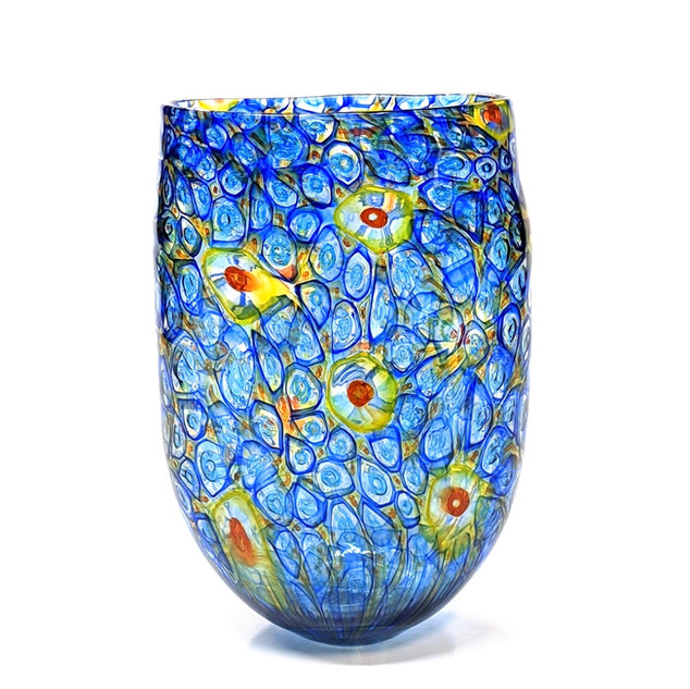 Blue Yellow Orange Murrini Vase