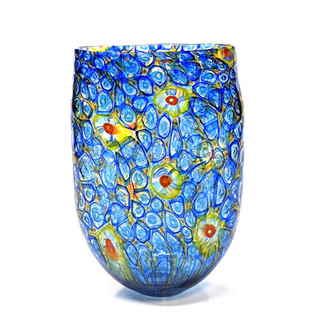 Blue Yellow Orange Murrini Vase