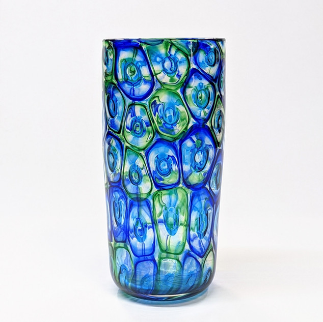 Blue Green Murrini Cylinder Vase