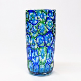 Blue Green Murrini Cylinder Vase