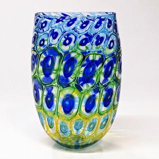 Aqua Green Yellow Murrini Vase
