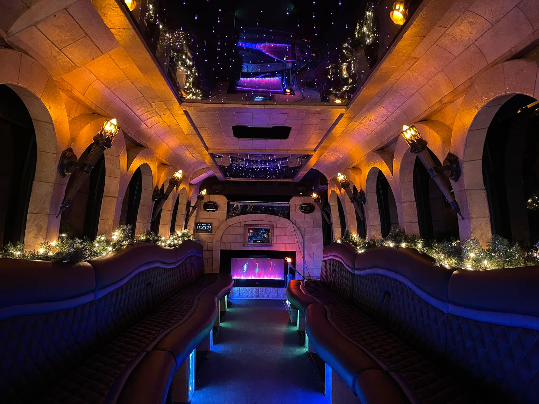 Castle Dreamliner Party Bus Fireplace